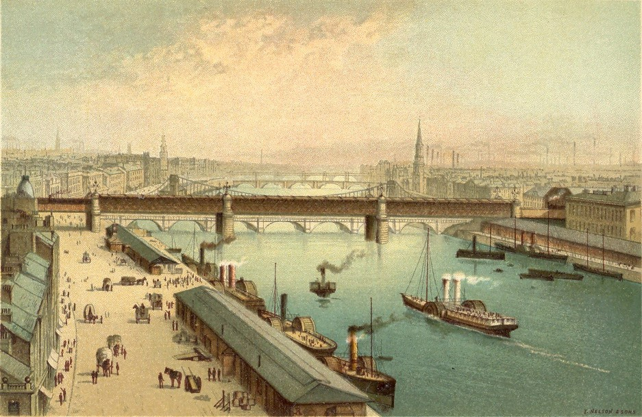 19th century painting of the river Clyde at the Broomielaw with steam-boats and quayside activity